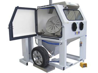 Pressure wet blasting machine / mobile / manual / wheel VIXEN