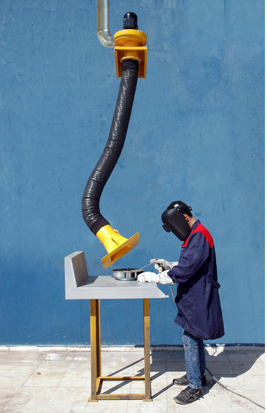 Wall-mounted extraction arm / telescopic / for welding fumes Ø 150 mm, 1.5 – 4 m